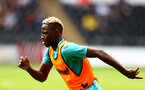 SWANSEA, WALES - Moussa Djenepo of Southampton warms up during the pre-season friendly match between Swansea City and Southampton FC, at The Liberty Stadium on July 31, 2021 in Swansea, Wales. (Photo by Matt Watson/Southampton FC via Getty Images)