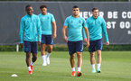 SOUTHAMPTON, ENGLAND - AUGUST 03: L to R Ibrahima Diallo, Che Adams, Mohamed Elyounoussi and Romain Perraud during a Southampton FC pre season training session at the Staplewood Campus on August 03, 2021 in Southampton, England. (Photo by Matt Watson/Southampton FC via Getty Images)