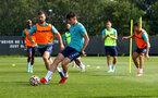 SOUTHAMPTON, ENGLAND - AUGUST 03: Shane Long(L) and Tino Livramento during a Southampton FC pre season training session at the Staplewood Campus on August 03, 2021 in Southampton, England. (Photo by Matt Watson/Southampton FC via Getty Images)