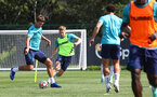 SOUTHAMPTON, ENGLAND - AUGUST 03: Jannik Vestergaard(L) and Stuart Armstrong during a Southampton FC pre season training session at the Staplewood Campus on August 03, 2021 in Southampton, England. (Photo by Matt Watson/Southampton FC via Getty Images)