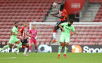 SOUTHAMPTON, ENGLAND - AUGUST 07: Mohammed Salisu of Southampton wins a header during the pre season friendly match between Southampton FC and Athletic Club at St Mary's Stadium on August 07, 2021 in Southampton, England. (Photo by Matt Watson/Southampton FC via Getty Images)