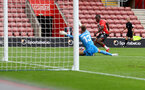 SOUTHAMPTON, ENGLAND - AUGUST 07: Michael Obafemi of Southampton shoots at goal during the pre season friendly match between Southampton FC and Athletic Club at St Mary's Stadium on August 07, 2021 in Southampton, England. (Photo by Matt Watson/Southampton FC via Getty Images)