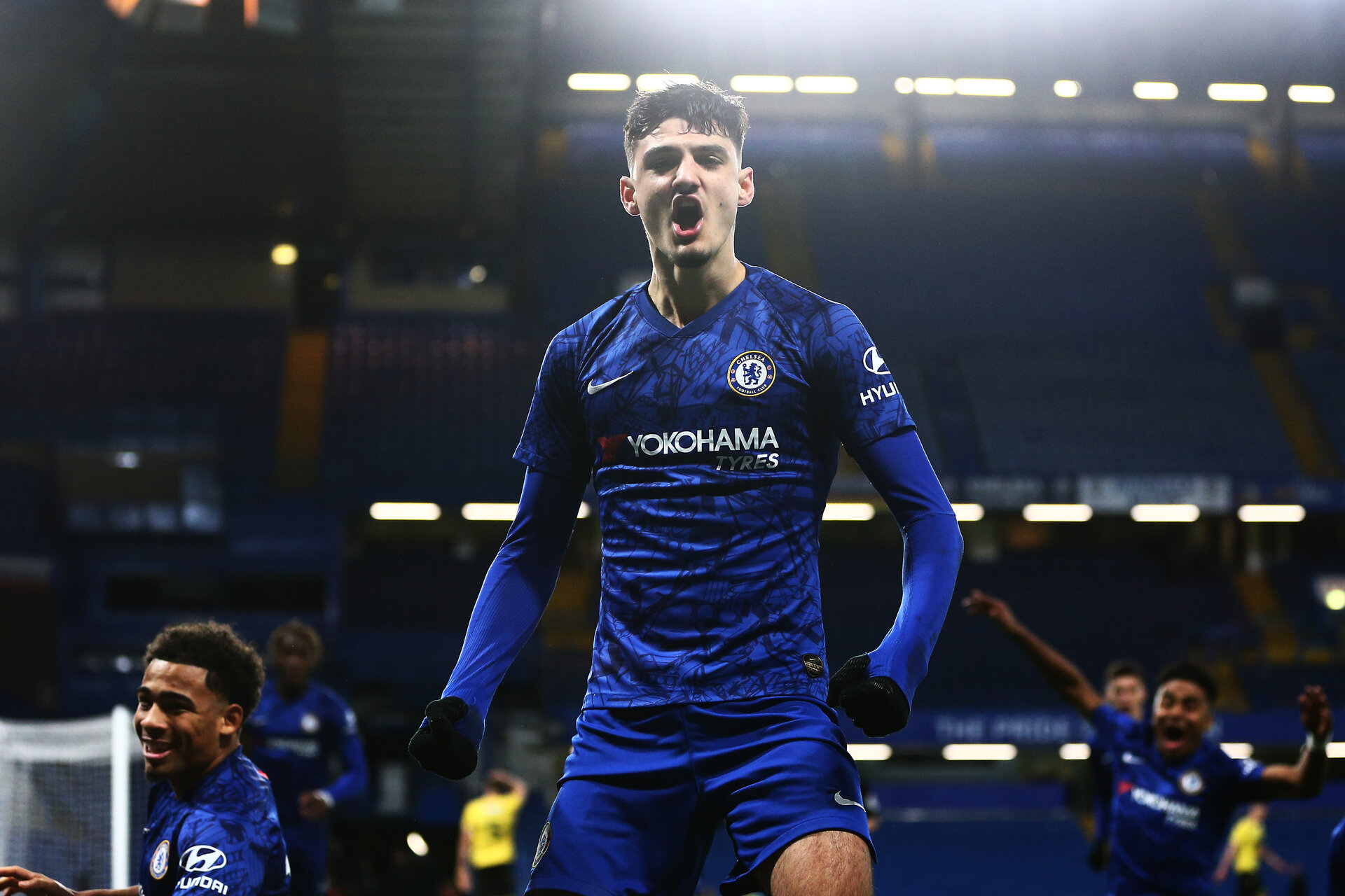 LONDON, ENGLAND - FEBRUARY 27: Armando Broja of Chelsea celebrates scoring his sides first goal during the FA Youth Cup Sixth Round match between Chelsea FC and Millwall FC at Stamford Bridge on February 27, 2020 in London, England. (Photo by Jordan Mansfield/Getty Images)