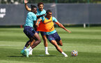 SOUTHAMPTON, ENGLAND - AUGUST 11: L to R Mohammed Salisu, Che Adams and Yan Valery during a Southampton FC training session at the Staplewood Campus on August 11, 2021 in Southampton, England. (Photo by Matt Watson/Southampton FC via Getty Images)