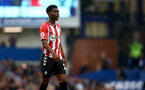 LIVERPOOL, ENGLAND - AUGUST 14: Nathan Tella of Southampton during the Premier League match between Everton  and  Southampton at Goodison Park on August 14, 2021 in Liverpool, England. (Photo by Matt Watson/Southampton FC via Getty Images)