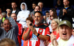 LIVERPOOL, ENGLAND - AUGUST 14: Southampton fans during the Premier League match between Everton  and  Southampton at Goodison Park on August 14, 2021 in Liverpool, England. (Photo by Matt Watson/Southampton FC via Getty Images)