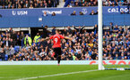 LIVERPOOL, ENGLAND - AUGUST 14: Adam Armstrong of Southampton goal celebration during the Premier League match between Everton  and  Southampton at Goodison Park on August 14, 2021 in Liverpool, England. (Photo by Matt Watson/Southampton FC via Getty Images)