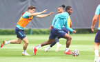 SOUTHAMPTON, ENGLAND - AUGUST 17: Romain Perraud(L) and Ibrahima Diallo during a Southampton FC training session at Staplewood Campus on August 17, 2021 in Southampton, England. (Photo by Matt Watson/Southampton FC via Getty Images)