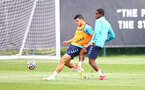 SOUTHAMPTON, ENGLAND - AUGUST 17: Mohamed Elyounoussi(L) and Ibrahima Diallo during a Southampton FC training session at Staplewood Campus on August 17, 2021 in Southampton, England. (Photo by Matt Watson/Southampton FC via Getty Images)