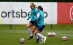 SOUTHAMPTON, ENGLAND - AUGUST 17: Catilin Morris(L) and Georgie Freeland(R) during Southampton Women's training session at  Staplewood Training Ground on August 17, 2021 in Southampton, England. (Photo by Isabelle Field/Southampton FC via Getty Images)