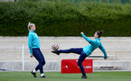 SOUTHAMPTON, ENGLAND - AUGUST 17: Kayla Rendell(L) and Sara Luce(R) during Southampton Women's training session at  Staplewood Training Ground on August 17, 2021 in Southampton, England. (Photo by Isabelle Field/Southampton FC via Getty Images)