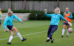 SOUTHAMPTON, ENGLAND - AUGUST 17: Phoebe Williams(L) and Kayla Rendell(R) during Southampton Women's training session at  Staplewood Training Ground on August 17, 2021 in Southampton, England. (Photo by Isabelle Field/Southampton FC via Getty Images)