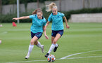 SOUTHAMPTON, ENGLAND - AUGUST 17: Ella Morris(L) and Phoebe Williams(R) during Southampton Women's training session at  Staplewood Training Ground on August 17, 2021 in Southampton, England. (Photo by Isabelle Field/Southampton FC via Getty Images)