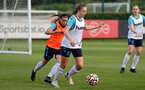 SOUTHAMPTON, ENGLAND - AUGUST 17: Shannon Sievwright(L) and Ella Morris(R) during Southampton Women's training session at  Staplewood Training Ground on August 17, 2021 in Southampton, England. (Photo by Isabelle Field/Southampton FC via Getty Images)