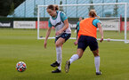 SOUTHAMPTON, ENGLAND - AUGUST 17: Lucia Kendall(L)   during Southampton Women's training session at  Staplewood Training Ground on August 17, 2021 in Southampton, England. (Photo by Isabelle Field/Southampton FC via Getty Images)
