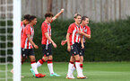 SOUTHAMPTON, ENGLAND - AUGUST 21: Dominic Ballard(second from right) of Southampton is congratulated by Sonnie Davis(R) during the U18 PL match between Southampton FC U18 and Birmingham City U18, at the Staplewood Campus on August 21, 2021 in Southampton, England. (Photo by Matt Watson/Southampton FC)