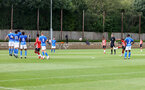 SOUTHAMPTON, ENGLAND - AUGUST 21: Kamari Doyle of Southampton scores from a free kick during the U18 PL match between Southampton FC U18 and Birmingham City U18, at the Staplewood Campus on August 21, 2021 in Southampton, England. (Photo by Matt Watson/Southampton FC)