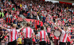 SOUTHAMPTON, ENGLAND - AUGUST 22: Southampton fans ahead of the Premier League match between Southampton  and  Manchester United at St Mary's Stadium on August 22, 2021 in Southampton, England. (Photo by Isabelle Field/Southampton FC via Getty Images)