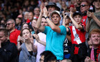 SOUTHAMPTON, ENGLAND - AUGUST 22: Saints fans before the Premier League match between Southampton and Manchester United at St Mary's Stadium on August 22, 2021 in Southampton, England. (Photo by Chris Moorhouse/Southampton FC via Getty Images)