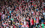 SOUTHAMPTON, ENGLAND - AUGUST 22: Saints fans during the Premier League match between Southampton and Manchester United at St Mary's Stadium on August 22, 2021 in Southampton, England. (Photo by Chris Moorhouse/Southampton FC via Getty Images)