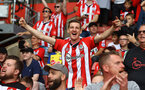 SOUTHAMPTON, ENGLAND - AUGUST 22: Fans of Southampton during the Premier League match between Southampton  and  Manchester United at St Mary's Stadium on August 22, 2021 in Southampton, England. (Photo by Matt Watson/Southampton FC via Getty Images)