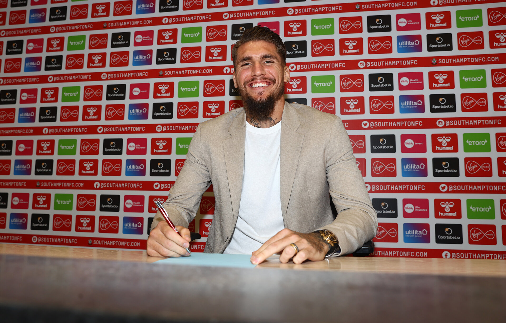 SOUTHAMPTON, ENGLAND - AUGUST 24: Southampton FC sign Lyanco on a permanent deal from Torino, pictured at the Staplewood Campus on August 24, 2021 in Southampton, England. (Photo by Matt Watson/Southampton FC via Getty Images)