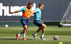 SOUTHAMPTON, ENGLAND - AUGUST 26: Adam Armstrong(L) and Oriol Romeu during a Southampton FC training session at the Staplewood Campus on August 26, 2021 in Southampton, England. (Photo by Matt Watson/Southampton FC via Getty Images)