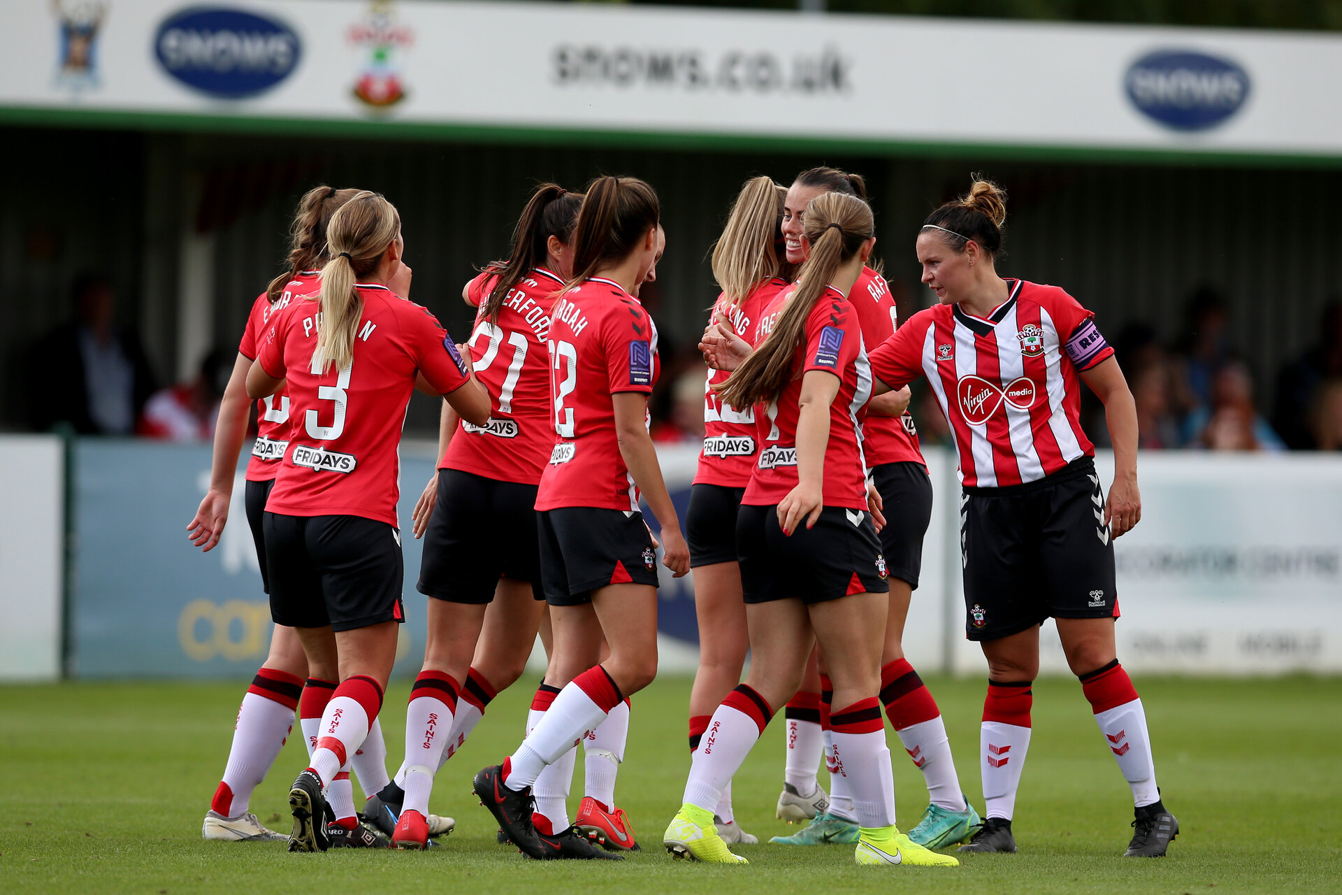 SOUTHAMPTON, ENGLAND - AUGUST 29: Southampton players celebrates after scoring another goal during Women's National League Southern Premier match between Southampton Women and Gillingham at Snows Stadium on August 29, 2021 in Southampton, England. (Photo by Isabelle Field/Southampton FC via Getty Images)
