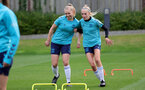 SOUTHAMPTON, ENGLAND - AUGUST 31: Kelly Snook(L) and Phoebe Williams(R) during Southampton Women's training session at  Staplewood Training Ground on August 31, 2021 in Southampton, England. (Photo by Isabelle Field/Southampton FC via Getty Images)