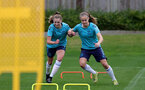 SOUTHAMPTON, ENGLAND - AUGUST 31: Alisha Ware(L) and Katie Rood during Southampton Women's training session at  Staplewood Training Ground on August 31, 2021 in Southampton, England. (Photo by Isabelle Field/Southampton FC via Getty Images)