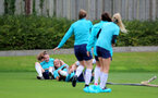 SOUTHAMPTON, ENGLAND - AUGUST 31: Ella Morris(L) and Laura Rafferty during Southampton Women's training session at  Staplewood Training Ground on August 31, 2021 in Southampton, England. (Photo by Isabelle Field/Southampton FC via Getty Images)