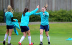 SOUTHAMPTON, ENGLAND - AUGUST 31: Leeta Rutherford(L) and Ella Pusey(R) during Southampton Women's training session at  Staplewood Training Ground on August 31, 2021 in Southampton, England. (Photo by Isabelle Field/Southampton FC via Getty Images)