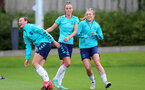 SOUTHAMPTON, ENGLAND - AUGUST 31: Leeta Rutherford(L), Laura Rafferty and Ciara Watling(R) during Southampton Women's training session at  Staplewood Training Ground on August 31, 2021 in Southampton, England. (Photo by Isabelle Field/Southampton FC via Getty Images)