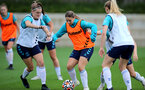 SOUTHAMPTON, ENGLAND - AUGUST 31: Ella Pusey(L) and Georgie Freeland(R) during Southampton Women's training session at  Staplewood Training Ground on August 31, 2021 in Southampton, England. (Photo by Isabelle Field/Southampton FC via Getty Images)