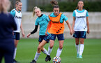 SOUTHAMPTON, ENGLAND - AUGUST 31: Phoebe Williams(L) and Sophia Pharoah(R) during Southampton Women's training session at  Staplewood Training Ground on August 31, 2021 in Southampton, England. (Photo by Isabelle Field/Southampton FC via Getty Images)