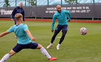 SOUTHAMPTON, ENGLAND - SEPTEMBER 01: Nathan Redmond(R) during Southampton training session at Staplewood Complex on September 01, 2021 in Southampton, England. (Photo by Isabelle Field/Southampton FC via Getty Images)