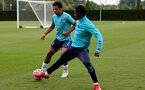 SOUTHAMPTON, ENGLAND - SEPTEMBER 01: Caleb Watts(L) and Idrahima Diallo(R) during Southampton training session at Staplewood Complex on September 01, 2021 in Southampton, England. (Photo by Isabelle Field/Southampton FC via Getty Images)