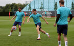 SOUTHAMPTON, ENGLAND - SEPTEMBER 01: Jack Stephens(L), Romain Perraud(R) during Southampton training session at Staplewood Complex on September 01, 2021 in Southampton, England. (Photo by Isabelle Field/Southampton FC via Getty Images)