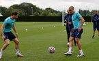 SOUTHAMPTON, ENGLAND - SEPTEMBER 01: Romain Perraud(L) and Oriol Romeu(R) during Southampton training session at Staplewood Complex on September 01, 2021 in Southampton, England. (Photo by Isabelle Field/Southampton FC via Getty Images)