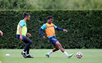 SOUTHAMPTON, ENGLAND - SEPTEMBER 01: Theo Walcott(L) and Nathan Tella(R) during Southampton training session at Staplewood Complex on September 01, 2021 in Southampton, England. (Photo by Isabelle Field/Southampton FC via Getty Images)