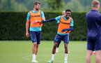 SOUTHAMPTON, ENGLAND - SEPTEMBER 01: Jack Stephens(L) and Nathan Tella(R) during Southampton training session at Staplewood Complex on September 01, 2021 in Southampton, England. (Photo by Isabelle Field/Southampton FC via Getty Images)
