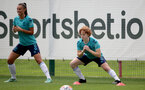 SOUTHAMPTON, ENGLAND - SEPTEMBER 08: Laura Rafferty(L) and Molly Mott(R) during Southampton Women's training at Staplewood Training Ground on September 08, 2021 in Southampton, England. (Photo by Isabelle Field/Southampton FC via Getty Images)