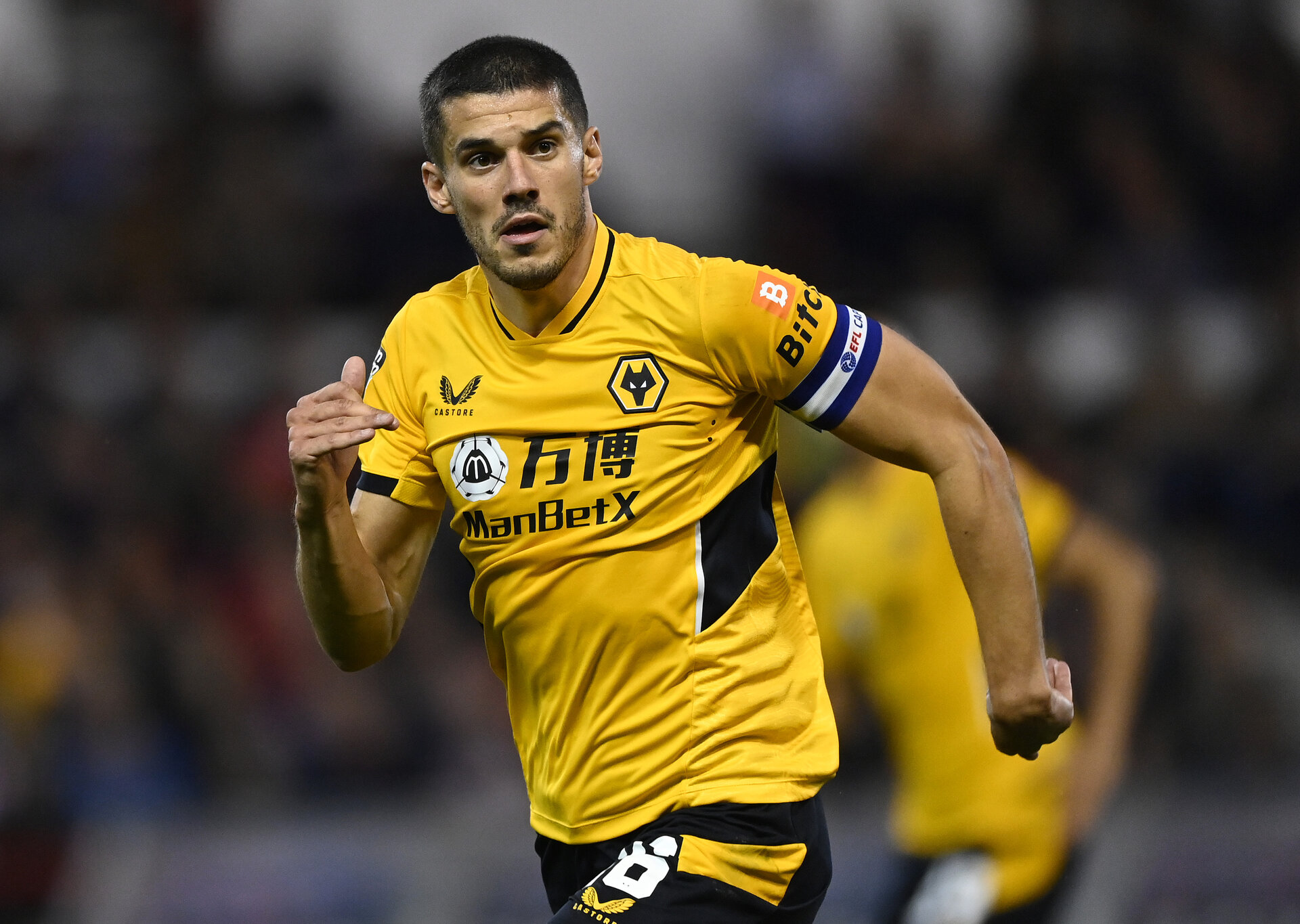 NOTTINGHAM, ENGLAND - AUGUST 24:  Conor Coady of Wolverhampton Wanderers during the Carabao Cup Second Round match between Nottingham Forest and Wolverhampton Wanderers at City Ground on August 24, 2021 in Nottingham, England. (Photo by Shaun Botterill/Getty Images)