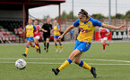 CHELTENHAM, ENGLAND - SEPTEMBER 12: Ella Pusey of Southampton during the Women's FA National League Cup match between  Cheltenham Town and  Southampton Women at The Corinium Stadium on September 12, 2021 in  Cheltenham, England. (Photo by Isabelle Field/Southampton FC via Getty Images)