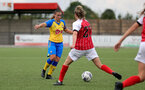 CHELTENHAM, ENGLAND - SEPTEMBER 12: Shannon Sievwright(L) of Southampton during the Women's FA National League Cup match between  Cheltenham Town and  Southampton Women at The Corinium Stadium on September 12, 2021 in  Cheltenham, England. (Photo by Isabelle Field/Southampton FC via Getty Images)