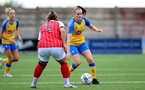 CHELTENHAM, ENGLAND - SEPTEMBER 12: Ella Pusey(R) of Southampton during the Women's FA National League Cup match between  Cheltenham Town and  Southampton Women at The Corinium Stadium on September 12, 2021 in  Cheltenham, England. (Photo by Isabelle Field/Southampton FC via Getty Images)