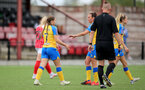 CHELTENHAM, ENGLAND - SEPTEMBER 12: Georgie Freeland(L) of Southampton and Leeta Rutherford(R) of Southampton during the Women's FA National League Cup match between  Cheltenham Town and  Southampton Women at The Corinium Stadium on September 12, 2021 in  Cheltenham, England. (Photo by Isabelle Field/Southampton FC via Getty Images)
