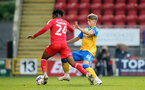 LONDON, ENGLAND - SEPTEMBER 14: Lewis Payne(R) of Southampton during the Papa John's Trophy match between Leyton Orient and Southampton B Team at Breyer Group Stadium on September 14, 2021 in London, England. (Photo by Isabelle Field/Southampton FC via Getty Images)