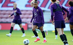 SOUTHAMPTON, ENGLAND - SEPTEMBER 16: Nikita Parris(L) during England Women's training session at St Mary's Stadium on September 16, 2021 in Southampton, England. (Photo by Isabelle Field/Southampton FC via Getty Images)