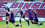 SOUTHAMPTON, ENGLAND - SEPTEMBER 16: Georgia Stanway(center) during England Women's training session at St Mary's Stadium on September 16, 2021 in Southampton, England. (Photo by Isabelle Field/Southampton FC via Getty Images)